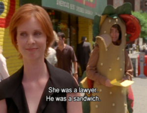 miranda hobbes lawyer sandwich